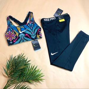 NEW Nike Pro Leggings & Logo Bra Top - Sz XS